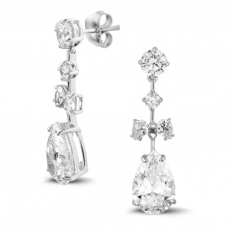 High Jewellery - 7.00 carat earrings in white gold with round and pear-shaped diamonds