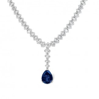 Necklaces - 27.00 carat diamond gradient necklace in white gold with pear-shaped sapphire