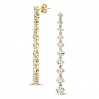 Yellow Gold - 5.50 carat degradee earrings in yellow gold