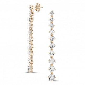 Red Gold Diamond Earrings - 5.50 carat degradee earrings in red gold