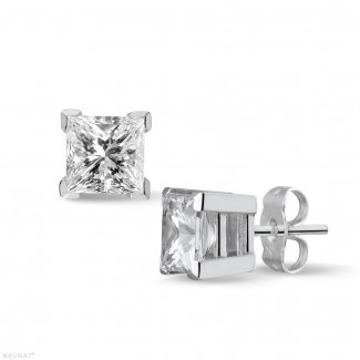 Earrings - 2.00 carat princess earrings in white gold with diamonds of exceptional quality (D-IF-EX)