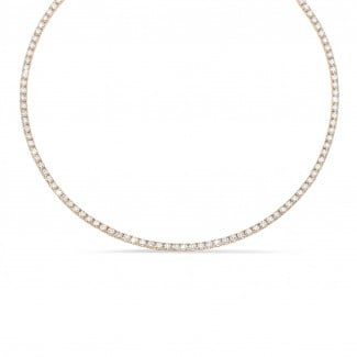 Red Gold Diamond Necklaces - 14.60 carat diamond river necklace in red gold