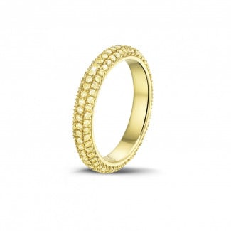 Rings - 0.85 carat eternity ring (full set) in yellow gold with yellow diamonds