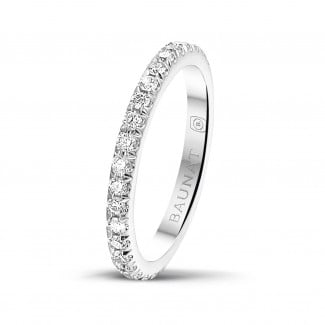 Rings - 0.55 carat eternity ring (full set) in white gold with round diamonds