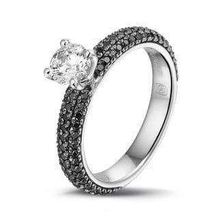 Rings - 0.50 carat solitaire ring (half set) in white gold with black diamonds