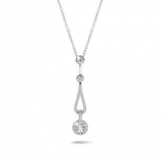 Necklaces - 0.50 carat diamond necklace in white gold
