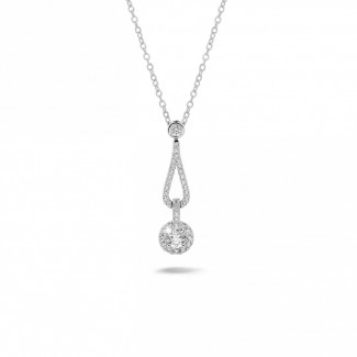 Necklaces - 0.45 carat diamond necklace in white gold