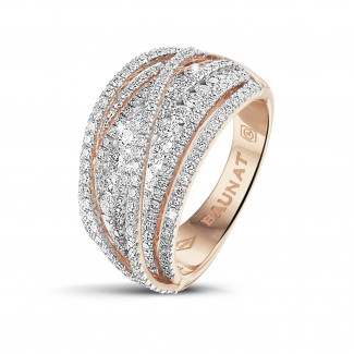 Rings - 1.50 carat ring in red gold with round diamonds