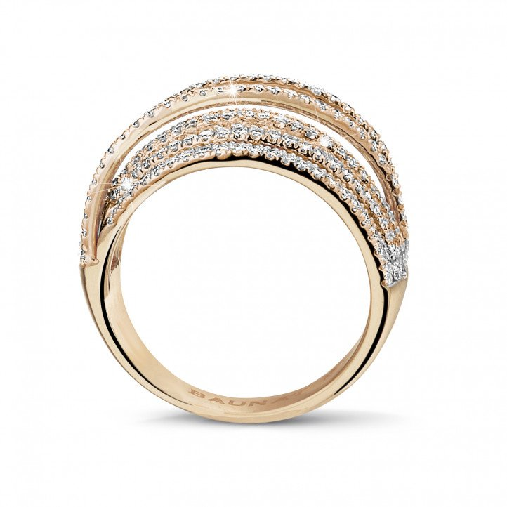1.50 carat ring in red gold with round diamonds