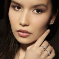 0.60 carat diamond princess earrings in white gold