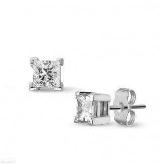 Stud earrings - 1.00 carat diamond princess earrings in white gold