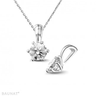 Necklaces - 0.75 carat white golden solitaire pendant with round diamond