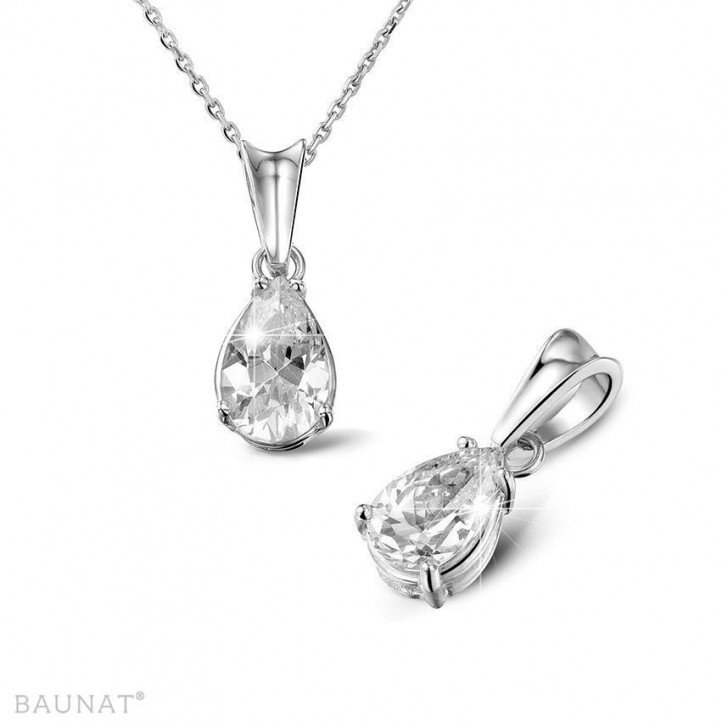 1.50 carat white golden solitaire pendant with pear shaped diamond
