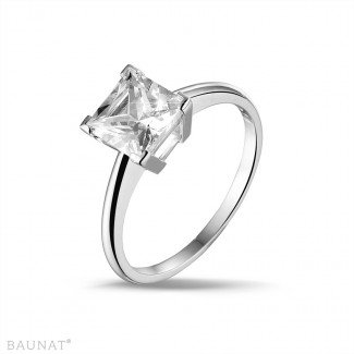2.50 carat solitaire ring in white gold with princess diamond
