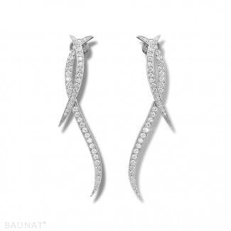 Originality - 1.90 carat diamond design earrings in white gold