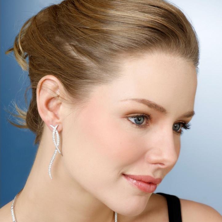 1.90 carat diamond design earrings in white gold