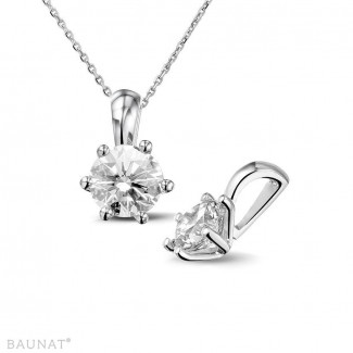 Necklaces - 1.00 carat white golden solitaire pendant with round diamond