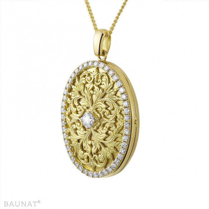 1.70 carat design medallion with small round diamonds in yellow gold