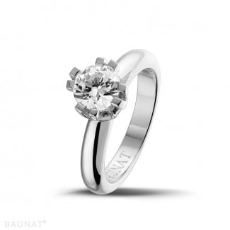 1.25 carat solitaire diamond design ring in platinum with eight prongs