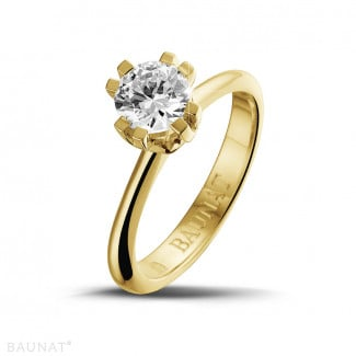 Yellow Gold Diamond Rings - 0.90 carat solitaire diamond design ring in yellow gold with eight prongs