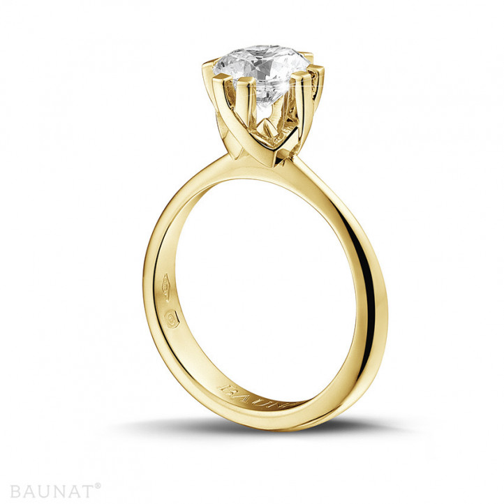 1.50 carat solitaire diamond design ring in yellow gold with eight prongs