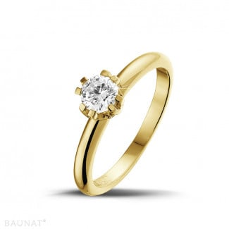 - 0.50 carat solitaire diamond design ring in yellow gold with eight prongs