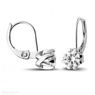 Earrings - 1.00 carat diamond design earrings in white gold with eight prongs