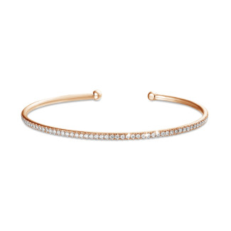 Bracelets - 0.75 carat diamond bangle in red gold