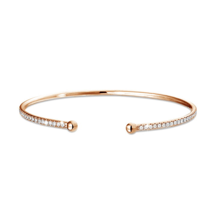 0.75 carat diamond bangle in red gold