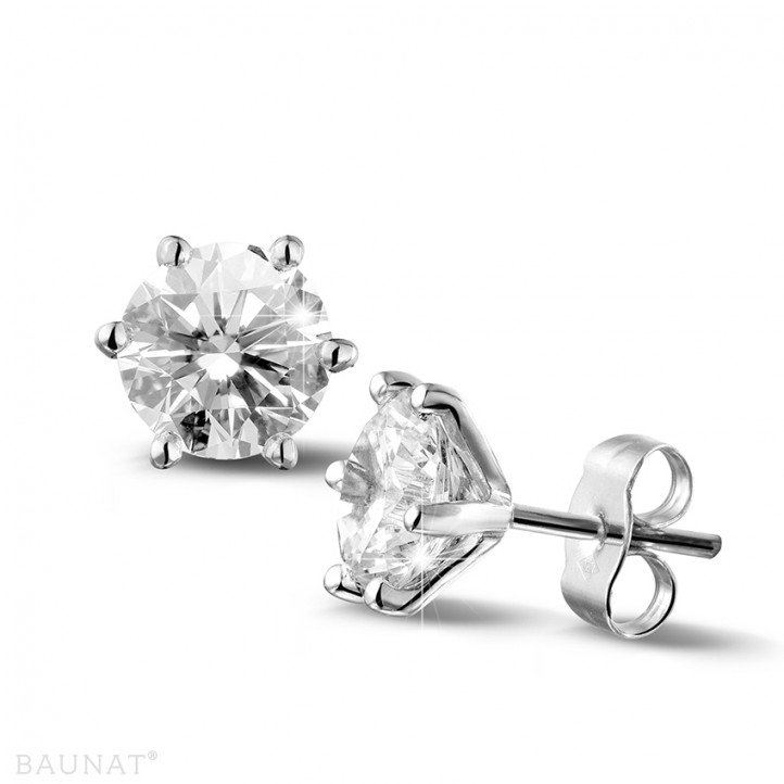3.00 carat classic diamond earrings in white gold with six prongs