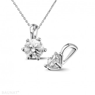 Necklace for women - 1.00 carat white golden solitaire pendant with round diamond