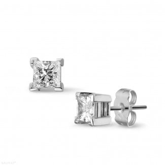 Gold earrings - 1.00 carat diamond princess earrings in white gold