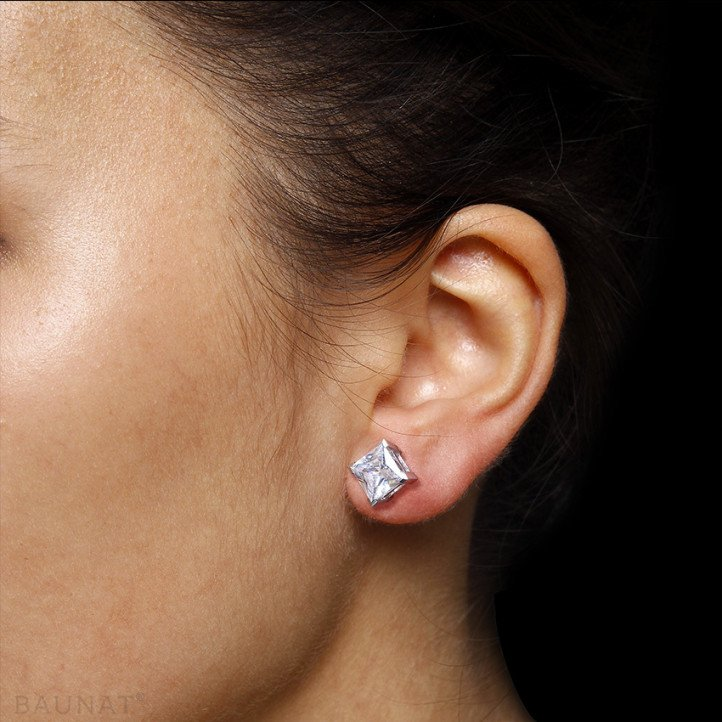 3.00 carat diamond princess earrings in white gold