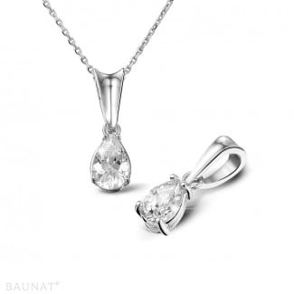 - 0.50 carat white golden solitaire pendant with pear shaped diamond
