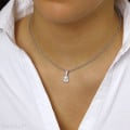 1.25 carat white golden solitaire pendant with pear shaped diamond