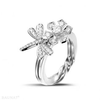 Pas-de-Deux - 0.55 carat diamond flower & dragonfly design ring in white gold