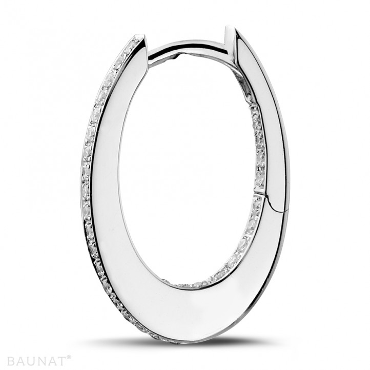 0.22 carat diamond creole earrings in white gold