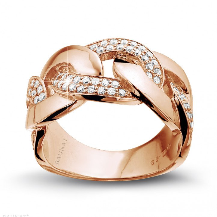 0.60 carat diamond gourmet ring in red gold