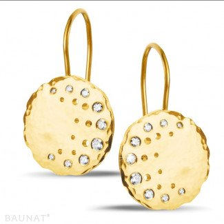 Yellow Gold Diamond Earrings - 0.26 carat diamond design earrings in yellow gold