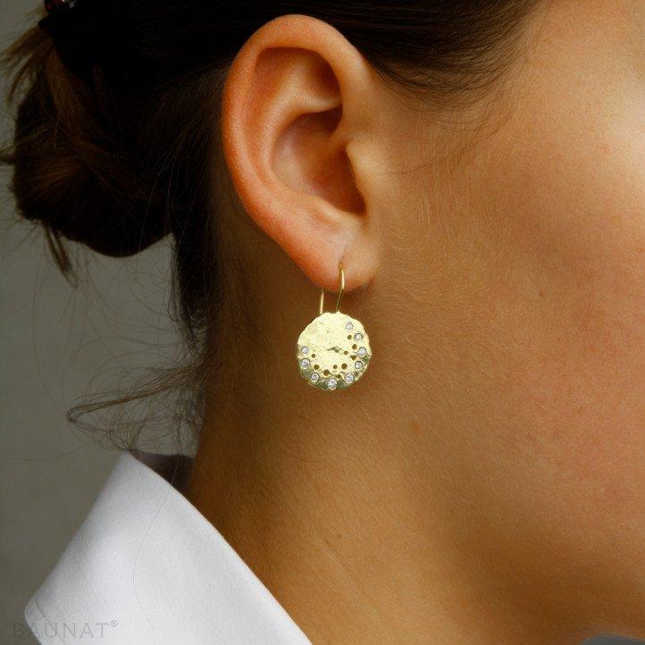0.26 carat diamond design earrings in yellow gold