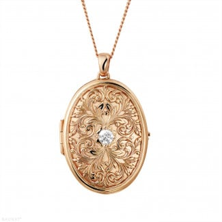 Diamond Lockets - 0.40 carat diamond design medallion in red gold