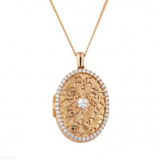 Diamond Lockets - 1.70 carat design medallion with small round diamonds in red gold