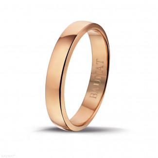 Red gold diamond wedding bands - Men's ring with a slightly domed surface of 4.00 mm in red gold