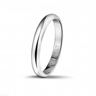 Men's ring with a domed surface of 3.00 mm in white gold