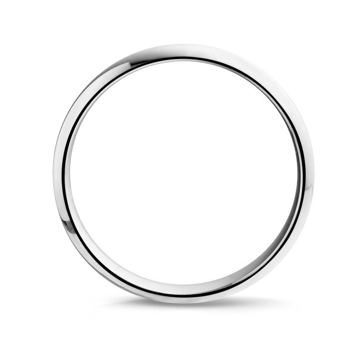 Men's ring with a domed surface of 5.00 mm in white gold