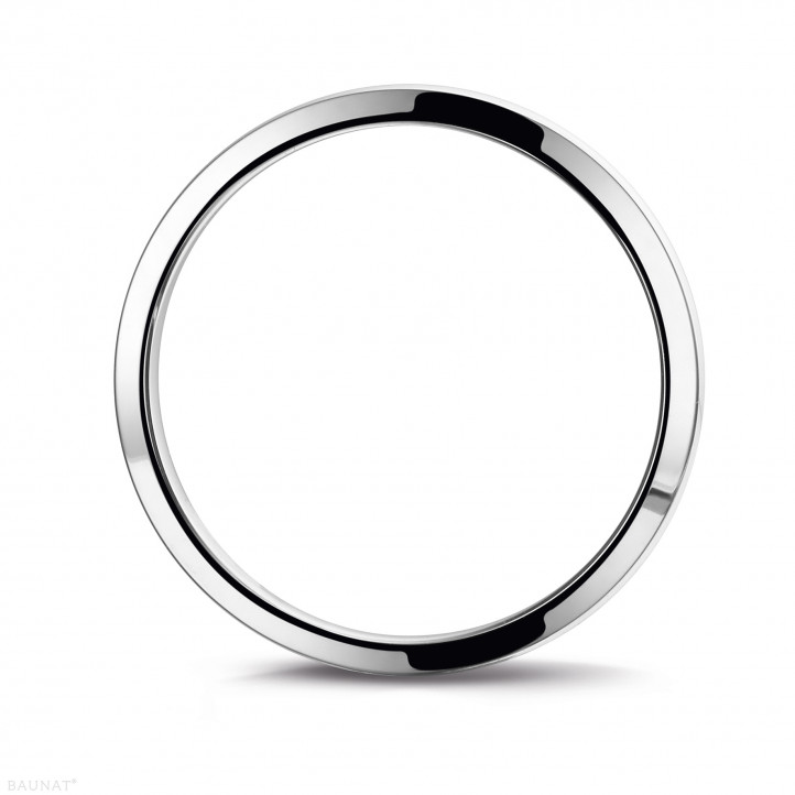 Men's ring with a slightly domed surface of 3.00 mm in white gold