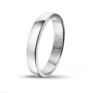 Men's rings - Men's ring with a slightly domed surface of 4.00 mm in white gold