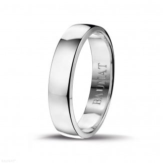 Wedding - Men's ring with a slightly domed surface of 5.00 mm in white gold