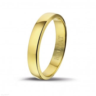 Yellow gold diamond wedding bands - Men's ring with a slightly domed surface of 4.00 mm in yellow gold