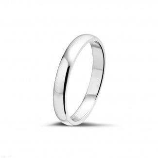 Platinum diamond wedding bands - Men's ring with a slightly domed surface of 4.00 mm in platinum